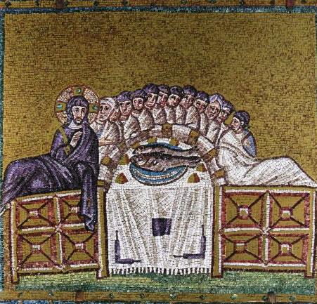 Het laatste avondmaal. Mozaïek uit de 6de eeuw in de basiliek van Sant'Apolinnare Nuovo in Ravenna (bron: wikimedia)